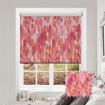 Coral Watercolour Patterned Roller Blind in Fresco Coral
